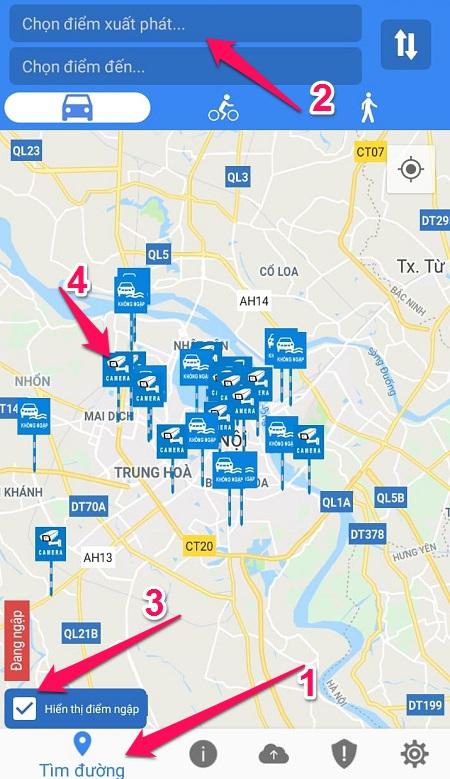 tìm thông tin tuyến đường ngập lụt bằng HSDC Maps