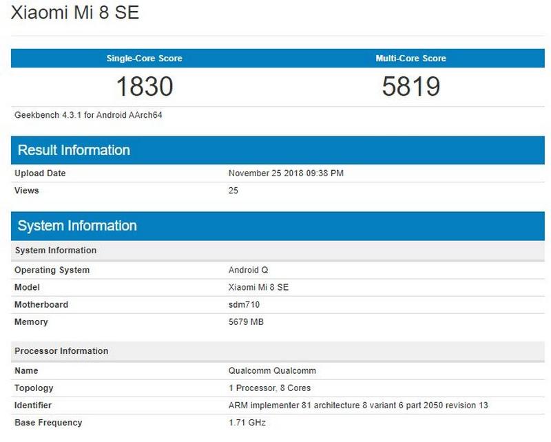 Xiaomi Mi 8 SE chạy Android Q xuất hiện trên Geekbench