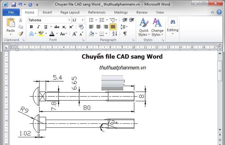 Cách chuyển CAD sang Word + Bước 3