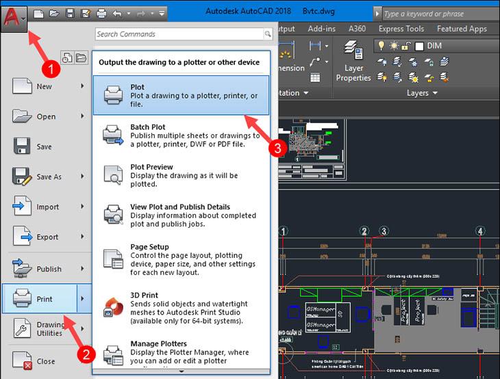 Chuyển CAD sang PDF bằng chức năng in File + Bước 1