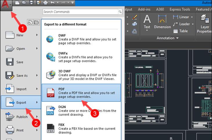 Chuyển CAD sang PDF bằng chức năng xuất File + Bước 1