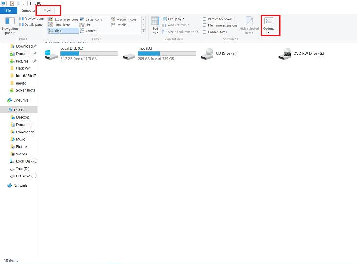Cách hiện File ẩn trong Win 8, 8.1 và 10 + Bước 1
