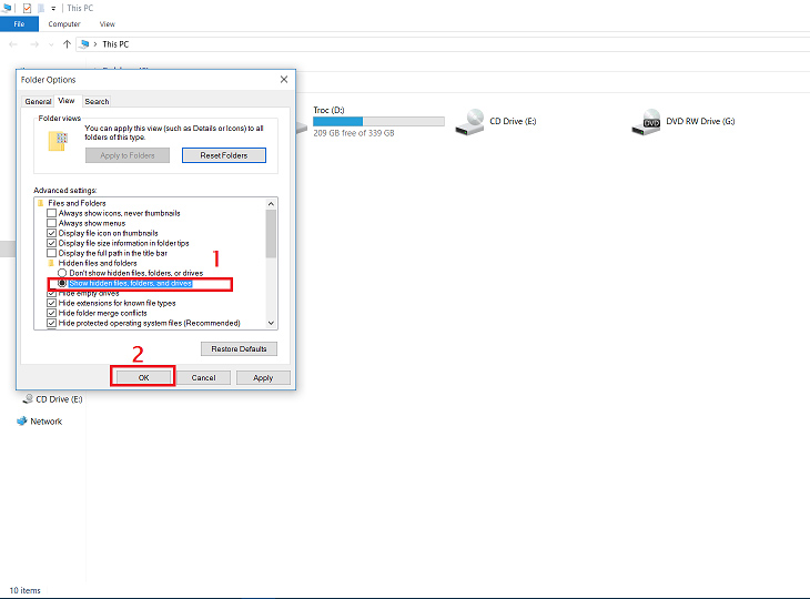 Cách hiện File ẩn trong Win 8, 8.1 và 10 + Bước 2