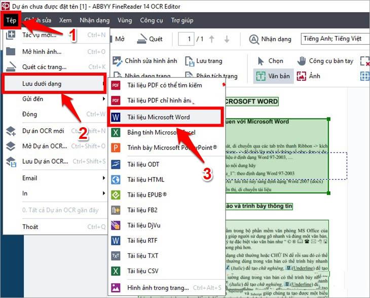 Chuyển và chỉnh sửa lỗi của file scan trên giao diện OCR Editor của ABBYY FineReader - Bước 3