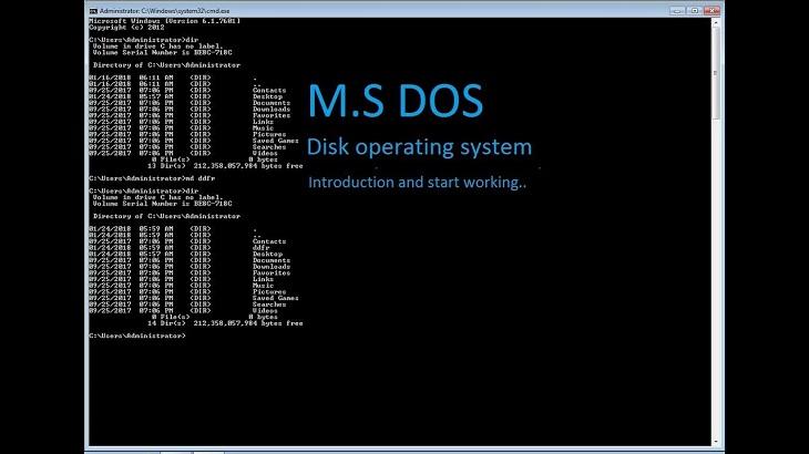 hệ điều hành MS-DOS  trên máy tính