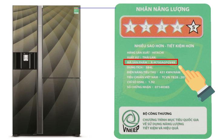 Cách xác định tên sản phẩm trên tủ lạnh Hitachi
