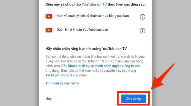Đăng nhập tài khoản Youtube lên tivi