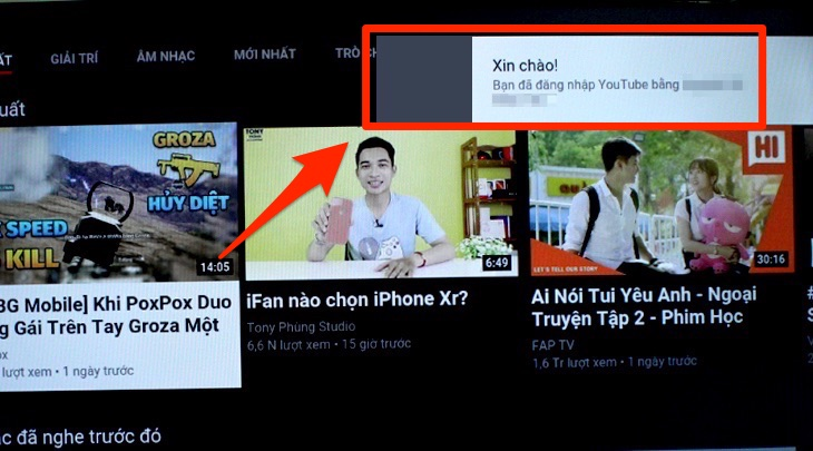 Đăng nhập tài khoản Youtube lên tivi thành công