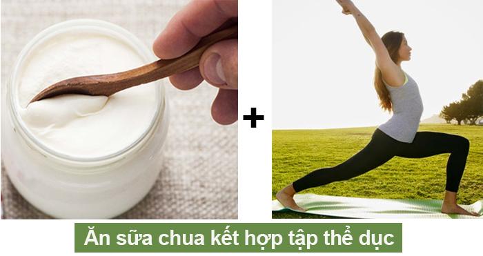 Ăn sữa chua kết hợp tập thể dục