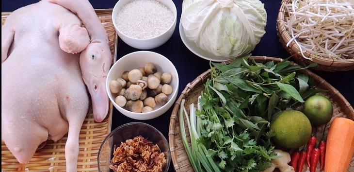 Nguyên liệu món ăn cách nấu cháo vịt xiêm hoặc vịt cỏ ngon