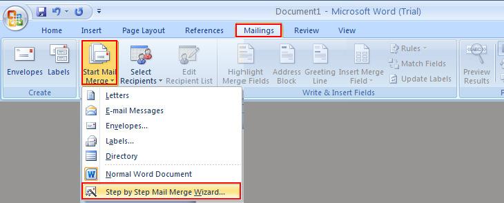 Cách trộn thư trong Word bằng cách tạo mới danh sách chèn + Bước 1