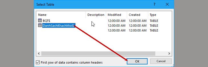 Cách trộn thư trong Word bằng cách sử dụng File Excel + Bước 2