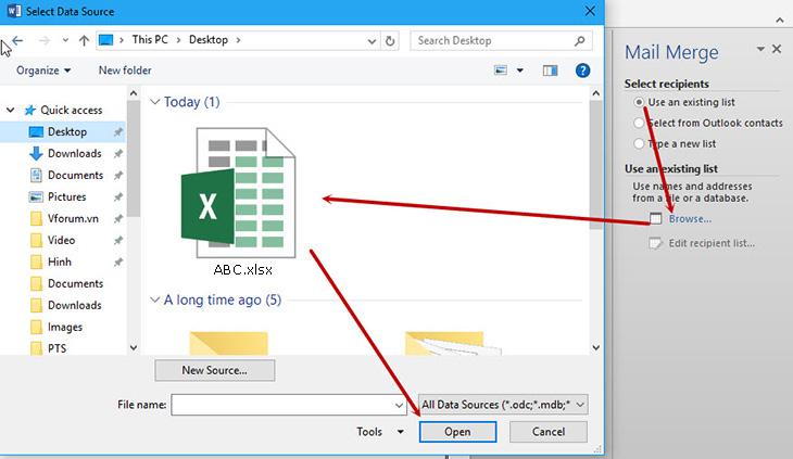 Cách trộn thư trong Word bằng cách sử dụng File Excel + Bước 1