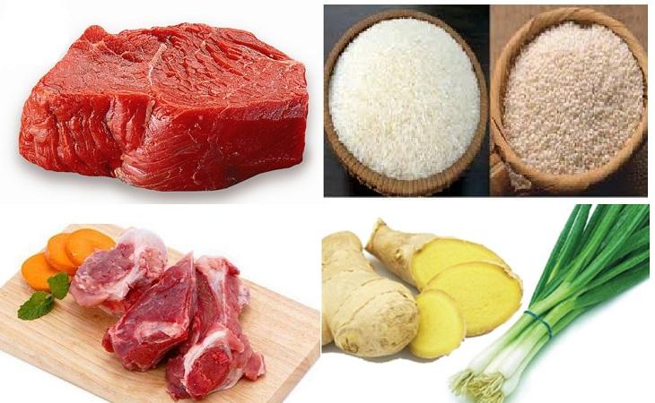 nguyên liệu cháo thịt bò xương hầm