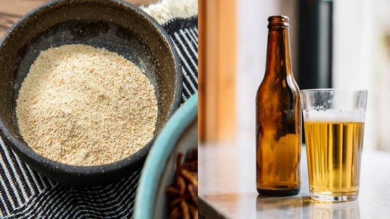 Bia và cám gạo giúp da trắng sáng tự nhiên.