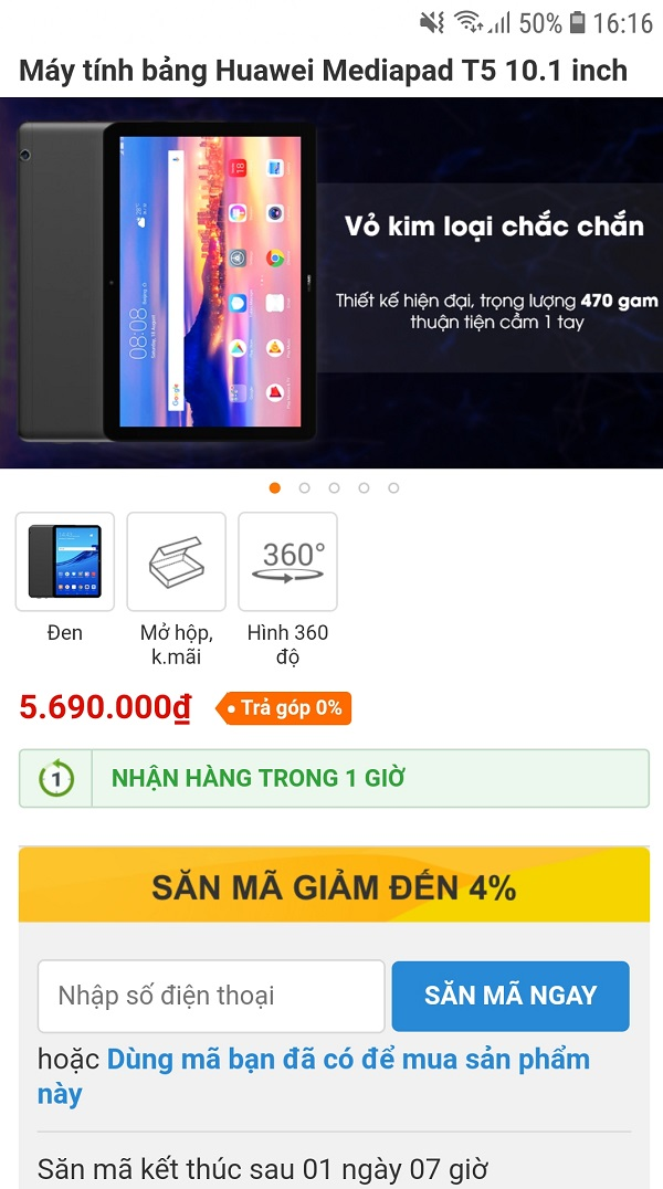 Huawei Mediapad T5 10.1 inch mở bán tại TGDD kèm nhiều quà tặng