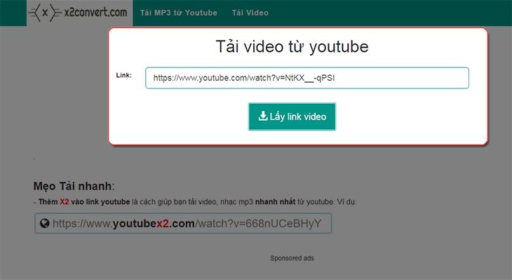 Dán link video Youtube cần tải vào muc Link và nhấn lấy link video
