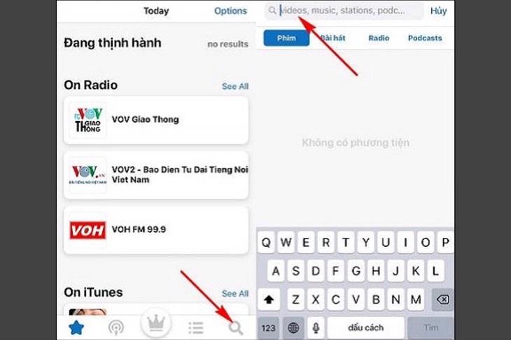 Nhấn vào mục Search để tiến hành tìm kiếm bản nhạc