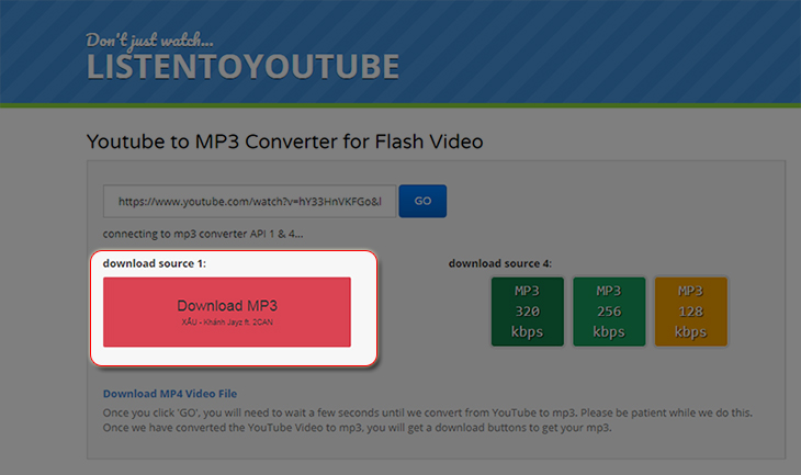 Download  Video Youtube bằng công cụ Listentoyoutube