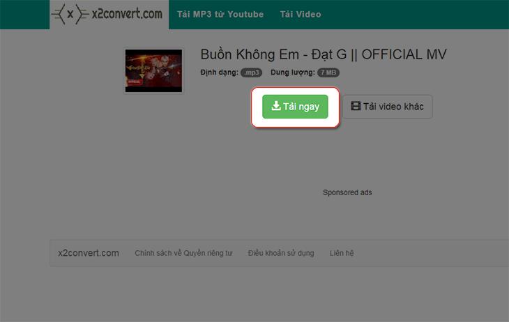 Chọn vào tải ngay để tải file MP3