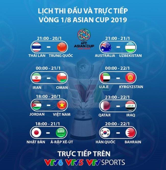 Lịch thi đấu vòng 1/8 Asian Cup 2019