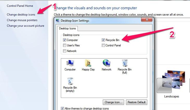 không thấy mục Recycle Bin hiện trên màn hình máy tính