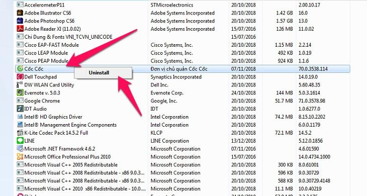 nhấp chuột phải bấm Uninstall để gỡ bỏ phần mềm