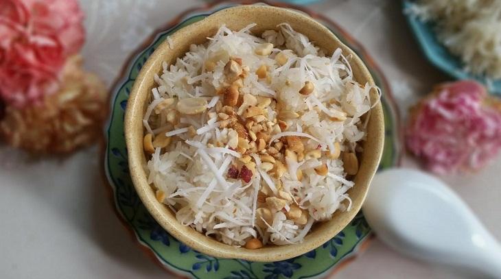 Bước 4 Hoàn thành Nấu xôi dừa bằng nồi cơm điện