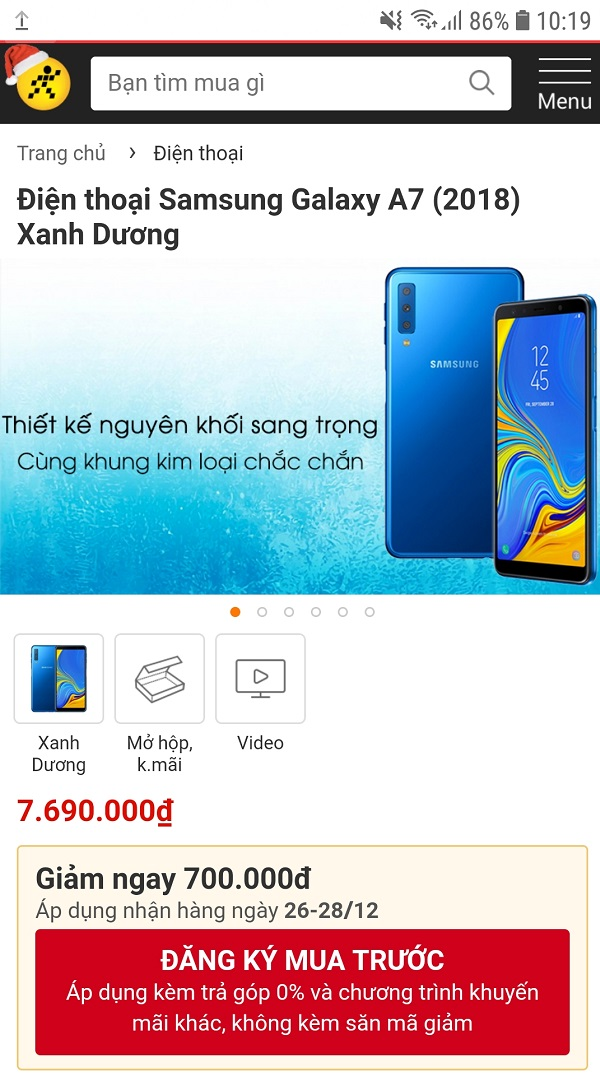 Galaxy A7 (2018) xanh dương được giảm 700.000 đồng thời gian có hạn