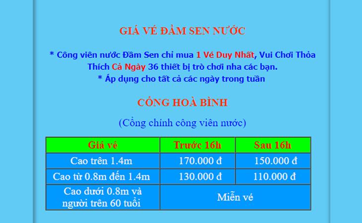Giá vé công viên nước Đầm Sen