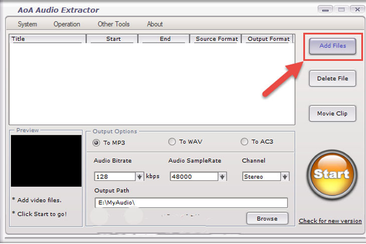 Phần mềm AoA Audio Extractor - Bước 1