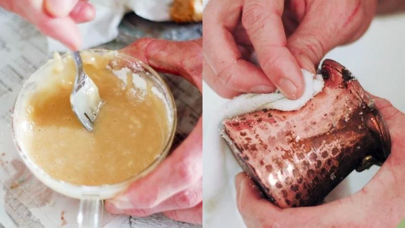 Đánh bóng lư đồng bằng bột mì đa dụng, muối, giấm