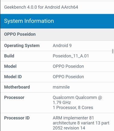 OPPO Poseidon dùng chip Snapdragon 855 xuất hiện trên Geekbench