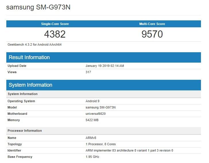 Galaxy S10 chip Exynos 9820 lộ điểm số sức mạnh trên Geekbench