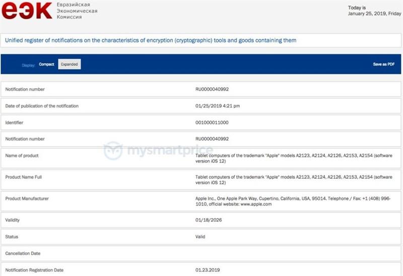 Nhiều mẫu iPad đạt chứng nhận tại EEC trước thời điểm ra mắt iPad Mini 5
