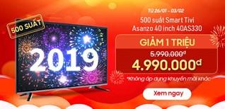 Khuyến mãi cực sốc mua Smart Tivi Asanzo 40 inch 40AS330 giảm 1 triệu