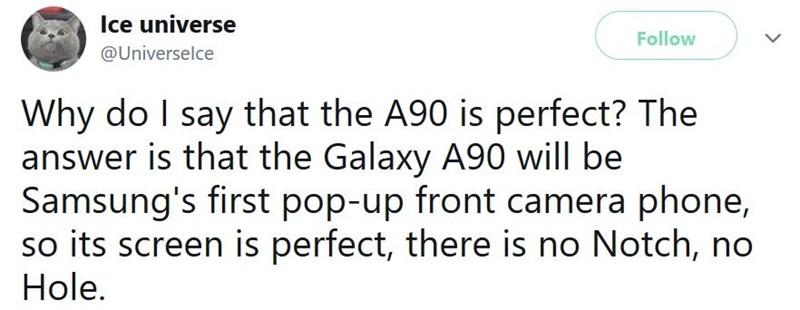 Galaxy A90 sẽ là smartphone đầu tiên của Samsung có camera pop-up