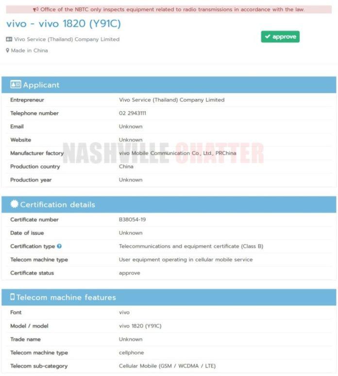 Vivo Y91C được cơ quan NBTC của Thái Lan chứng nhận