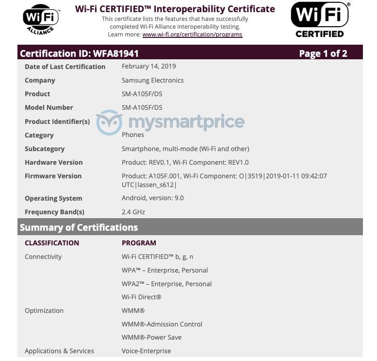 Samsung Galaxy A10 (SM-A105FDS) đạt chứng nhận của Wi-Fi Alliance