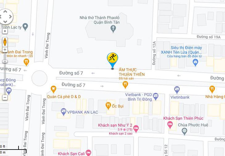 Bản đồ đến siêu thị Điện máy XANH tại 54-56 đường số 7, P. Bình Trị Đông B, Q. Bình Tân, TP. HCM (Khu Tên Lửa - Ngã 4 đường số 7 và số 6).