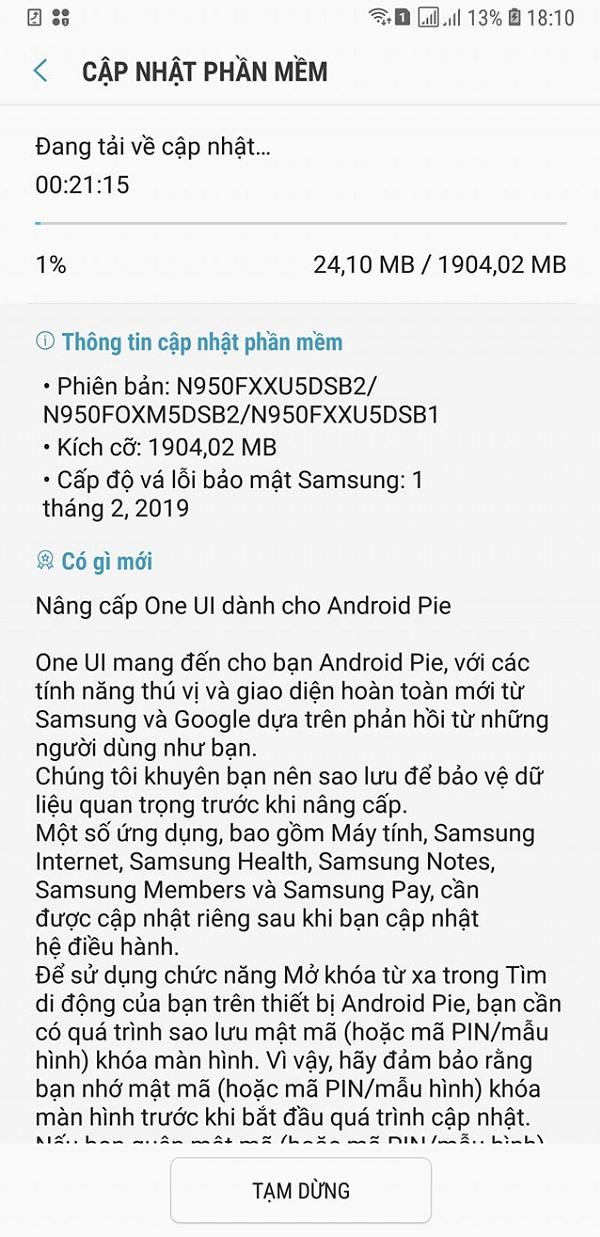 Galaxy Note 8 tại Việt Nam được cập nhật Android 9 Pie và One UI