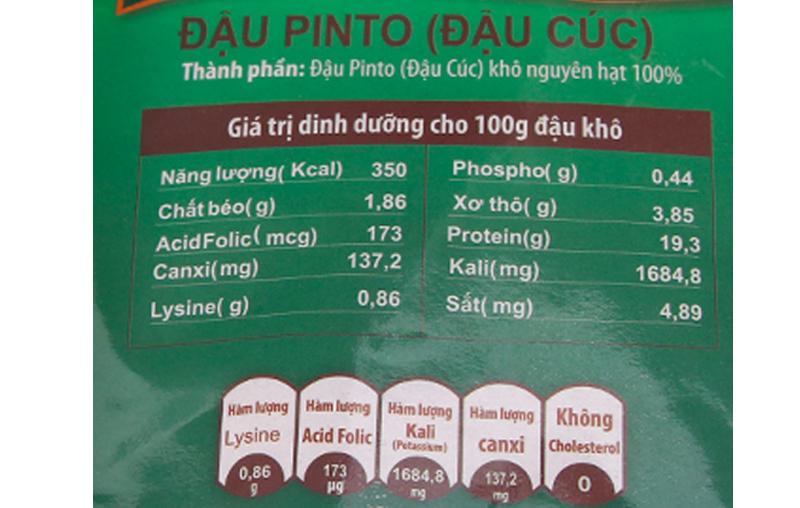 Thành phần dinh dưỡng trong đậu pinto