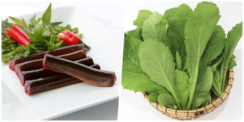 Cháo lươn nấu cải xanh