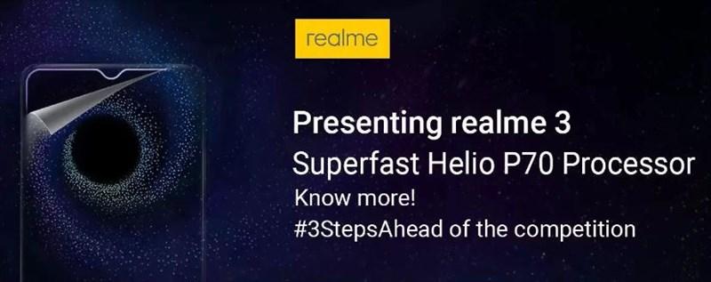 Realme 3 chip Helio P70, pin 4.230 mAh sẽ ra mắt vào ngày 4/3