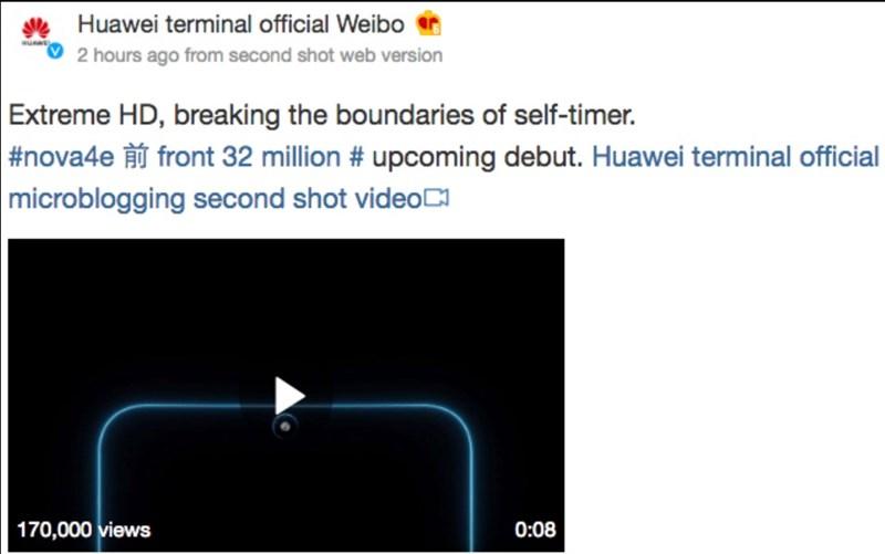 Huawei Nova 4e sở hữu camera selfie 32 MP