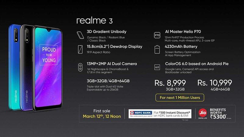 Realme 3 ra mắt: Chip Helio P70, pin 4.230 mAh, chạy Android Pie, giá chỉ 3 triệu