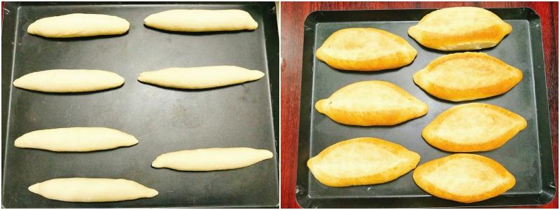 Sau 10 phút đặt miếng bột lên bàn và cán xẹp bọt khí, cuộn từ từ từng ít một từ trên xuống dưới, nối mép bột lại cho dính vào nhau, vê 2 đầu miếng bột tạo hình chiếc bánh mì, đặt vào khay nướng và đậy kín lại để cho bột nở gấp đôi hoặc gấp 3. Nếu bạn thích có đường xẻ giống ngoài tiệm thì có thể dùng dao lam rạch lên bột.