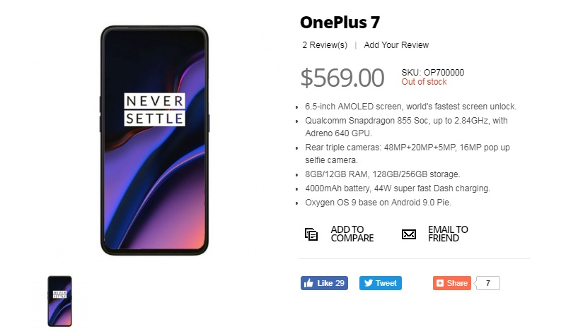 Đây là cấu hình và giá bán của OnePlus 7 xách tay? - 257361