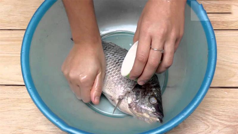 Cá chép khi mua bạn nhờ người bán bỏ ruột, đánh vẩy và cạo nhớt bên ngoài và lớp màng đen trong bụng cá. Sau khi đem về bạn rửa lại với giấm hoặc rượu để cá sạch và bớt tanh hơn.