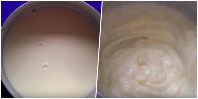 Tách 1 lòng đỏ trứng gà vào tô, sau đó cho vào 20g đường và khuấy cho đường tan. Sau khi đường tan bạn cho vào 200ml sữa tươi có đường và 20g bột bắp rồi tiếp tục khuấy lên. Ray hỗn hợp trên qua ray lọc rồi cho phần vừa ray được vào nồi đun sôi, vừa đun vừa khuấy đều nếu không sẽ bị vón cục ở dưới đáy. Bạn nấu cho đến khi hỗn hợp sệt lại như kem thì tắt bếp.